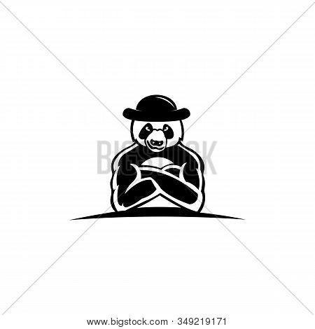 Cute Panda In Wide-brimmed Hat, Panda Bear, Vector Illustration Panda Wearing A Hat