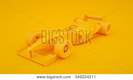 Formula One Racing Car Isolated On Yellow Background. 3d Rendering.