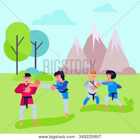 Group Of People Men Women Couples Do Karate Aikido In Open Air Outdoors Vector Illustration. Orienta