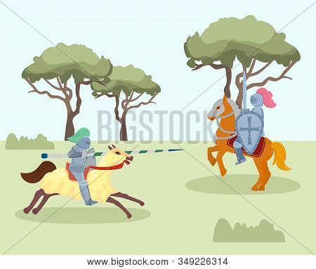 Fight Of Medieval Knights Vector Illustration. Two Men Warriors Historical Characters In Knight Armo