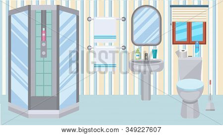 Bathroom Toilet Interior At Home Vector Illustration. Plumbing Shower, Wc, Sink. Accessories For Bod