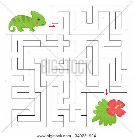 Maze Game For Preschool Children. Cartoon Chameleon With Exotic Tropical Flower. Jungle Animals. Pri