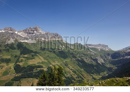 Panorama Of The Swiss Mountains In Central Switzerland
