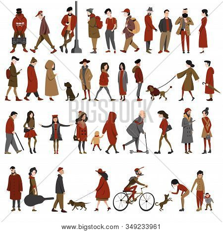 A Set Of Different People, Men And Women In Different Clothes, Different Ages In Different Poses. A