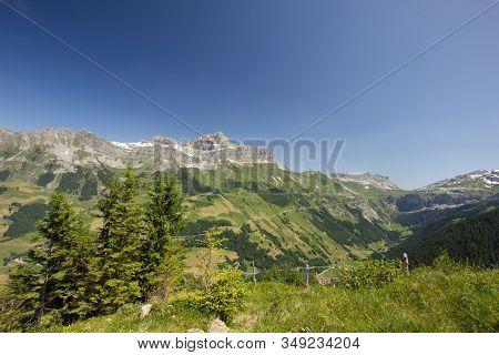 View Over The Schaechental In Switzerland Seen From The Sittlisalp