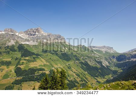 Panorama View Of The Swiss Mountains In Central Switzerland