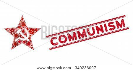 Virus Mosaic Communism Star Icon And Red Communism Seal Stamp Between Double Parallel Lines. Mosaic