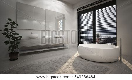 Modern interior design of spacious bathroom with white ceramic freestanding bathtub against high window with horizontal blinds. 3d Rendering