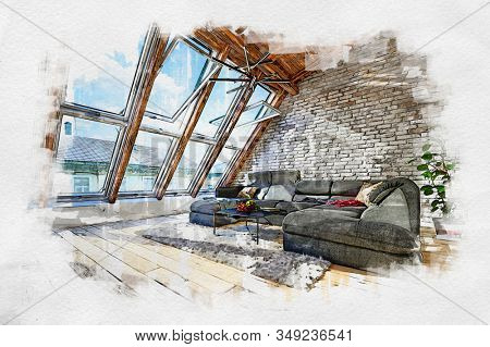 Colored sketch of attic living room interior with panoramic windows and wide comfortable couch in the middle of the room, against white brick wall. 3d Rendering