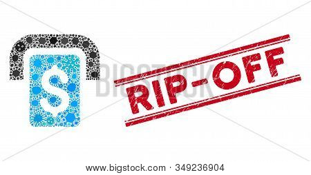 Outbreak Mosaic Cashpoint Icon And Red Rip-off Seal Between Double Parallel Lines. Mosaic Vector Is