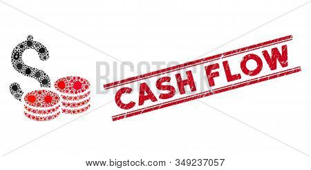 Contagious Mosaic Cash Icon And Red Cash Flow Seal Stamp Between Double Parallel Lines. Mosaic Vecto