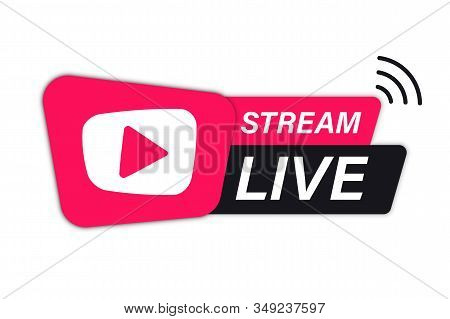 Live Stream Icon. Live Streaming Element For Broadcasting Or Online Tv Stream. Video Stream Icons. S