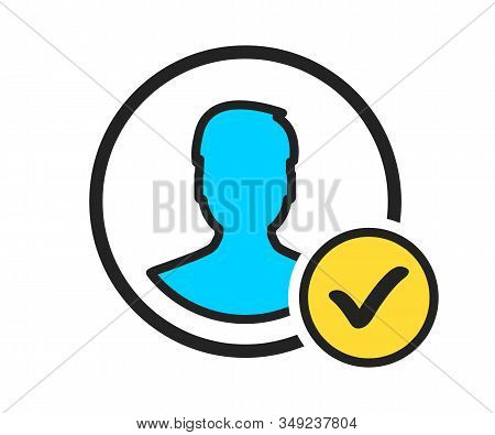 Profile Check Icon. User Profile Sign Web Icon With Check Mark Glyph. Profile With Checkmark Icon Ve