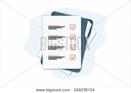Documents Folder With Paper Sheets. Flat Illustration Of Folder With Checklist Icon For Web. Contrac