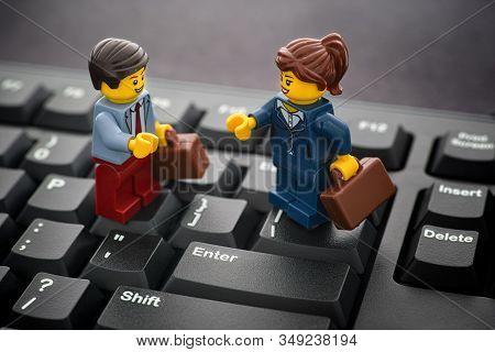 Tambov, Russian Federation - January 24, 2020 Lego Businessman And Businesswoman Minifigures Standin