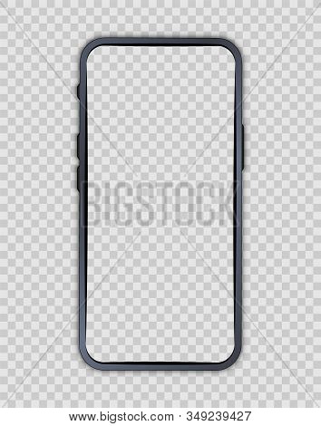Smartphone Blank Screen. Phone Mockup. Cellphone Frame With Blank Display. Vector Mobile Phone Devic