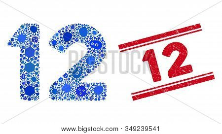Virus Mosaic 12 Digits Text Icon And Red 12 Seal Stamp Between Double Parallel Lines. Mosaic Vector
