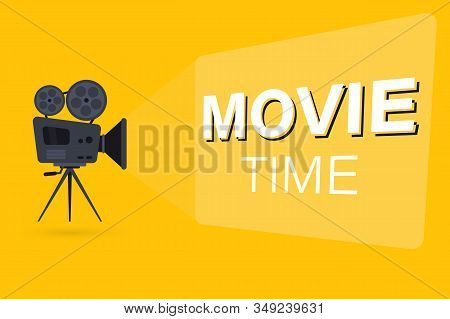 Movie Time Concept With Film Projector And Text Area. Movie Camera On The Tripod. Projector With Fil