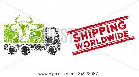 Outbreak Mosaic Cow Transportation Icon And Red Shipping Worldwide Watermark Between Double Parallel