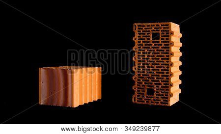 New Construction Materials, Red Bricks With Holes Isolated On Black Background. Stock Footage. Close