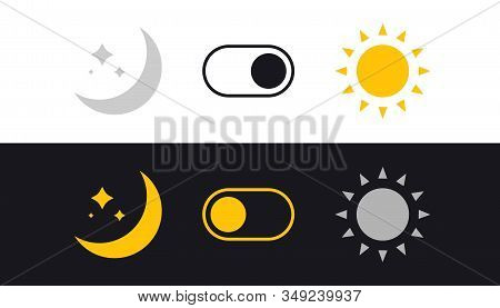 Day And Night Mode Switch. Sun And Moon. Light Filter Toggle Button. Sleeping Mode Turn On, Off. On