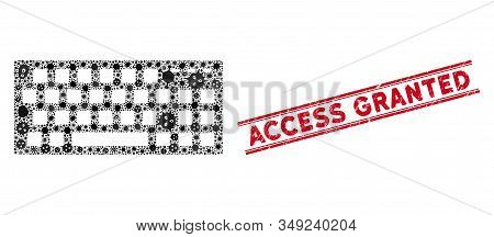 Flu Mosaic Keyboard Icon And Red Access Granted Seal Stamp Between Double Parallel Lines. Mosaic Vec