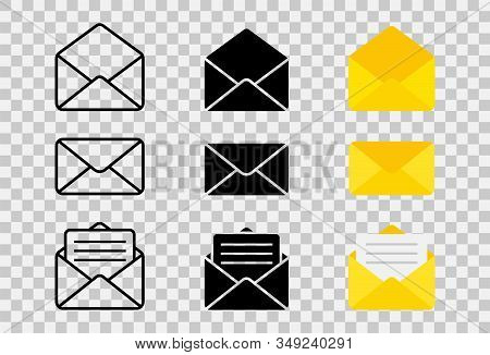 Mail Or Email Icon. Envelope Icons Set In Different Views. Opened And Closed Envelope With Note Pape