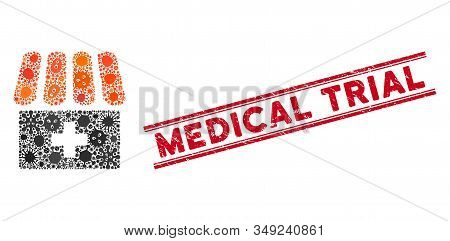 Contagious Mosaic Drugstore Icon And Red Medical Trial Seal Stamp Between Double Parallel Lines. Mos