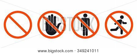 No Entry Sign. Stop Signs Collection. Man Stands, Walk And Run. People Symbol. Hand Stop And No Man