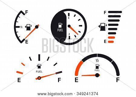 Set Of Fuel Gauge Scales. Fuel Meter. Fuel Indicator. Gas Tank Gauge. Oil Level Tank Bar Meter. Coll