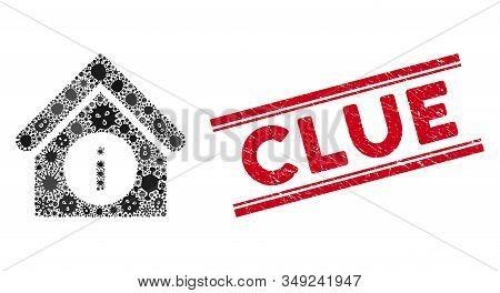 Viral Mosaic Info Building Icon And Red Clue Seal Stamp Between Double Parallel Lines. Mosaic Vector