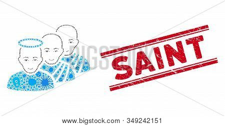 Outbreak Mosaic Holy Men Icon And Red Saint Seal Stamp Between Double Parallel Lines. Mosaic Vector