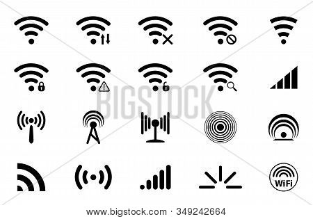 Set Of Signal Icons. Network Signal Or Internet Icon. Wireless Technology Icons. Wifi Icons. Wifi Si