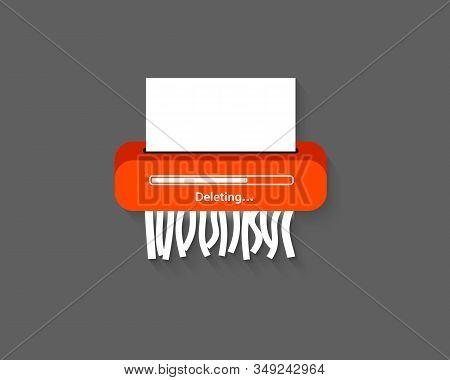 Delete Files Or Deleted Documents Process. Delete Icon. Remove Document. Paper Shredder Machine. Del