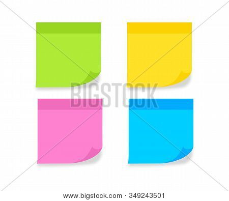 Set Different Colored Sheets Of Note Paper. Blank Post For Message, To Do List, Memory. Sticky Color