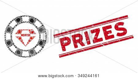Contagion Collage Ruby Casino Chip Icon And Red Prizes Seal Stamp Between Double Parallel Lines. Mos