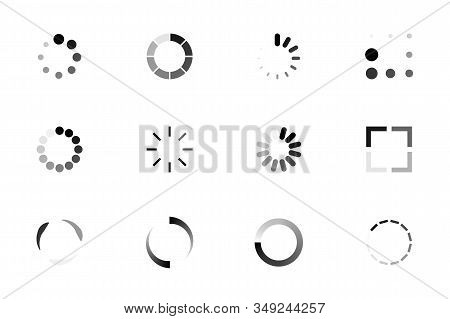 Set Of Loading Icons. Indicator For The Loading Process. Load Upload Download Round Process. Website