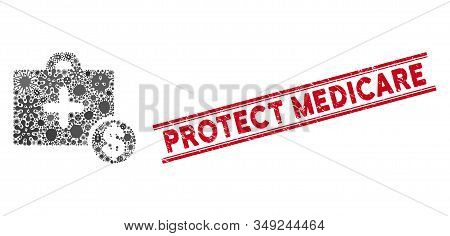 Infection Collage Commercial Medicine Case Icon And Red Protect Medicare Seal Between Double Paralle