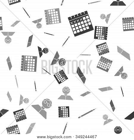 Set Calendar, Pencil With Eraser, Eraser Or Rubber And Student On Seamless Pattern. Vector