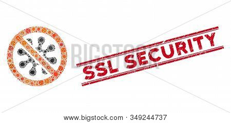 Contagious Mosaic Antivirus Icon And Red Ssl Security Rubber Print Between Double Parallel Lines. Mo
