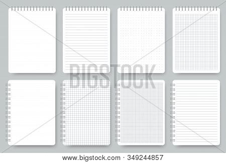 Notebook Page Set, Notepad Lined And Dots Paper. Lined Notepaper Texture. Vector