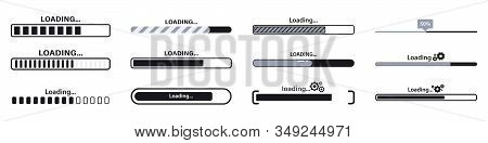 Progress Loading Bar. Load Sign Vector Illustration. Set Of Connecting Indicators. Collection Loadin