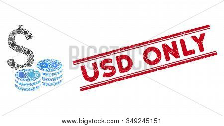 Virus Collage Dollar Cash Icon And Red Usd Only Seal Stamp Between Double Parallel Lines. Mosaic Vec