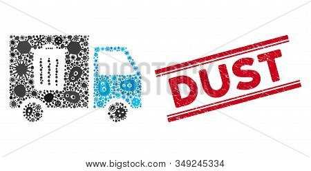 Virus Mosaic Rubbish Transport Van Icon And Red Dust Seal Stamp Between Double Parallel Lines. Mosai