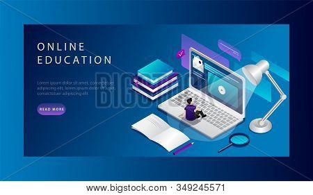 Isometric Online Education Website Landing Page Concept. Student Is Studing Online Course. Universit