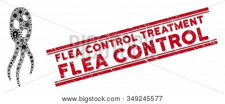 Contagion Mosaic Microorganism Icon And Red Flea Control Treatment Watermark Between Double Parallel