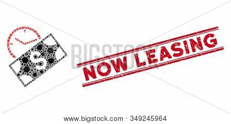 Infected Mosaic Rent Recurring Payment Icon And Red Now Leasing Seal Stamp Between Double Parallel L