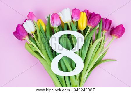 8 March Congratulations Concept. High Angle Above View Photo Of Beautiful Multicolored Bouquet Of Di