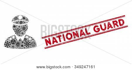 Microbe Collage Army General Icon And Red National Guard Seal Stamp Between Double Parallel Lines. M