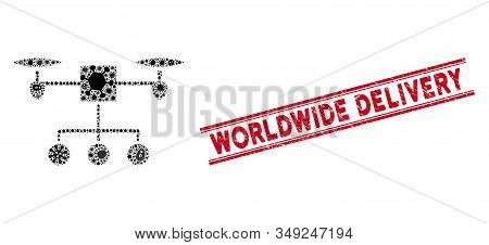 Epidemic Mosaic Drone Distribution Icon And Red Worldwide Delivery Seal Between Double Parallel Line